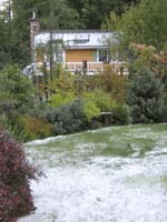 rare snowfall mendocino  rental cottage